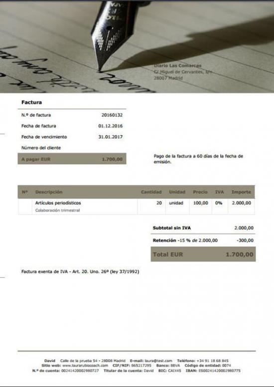 Plantillas de factura para escritores | Debitoor, programa de facturas