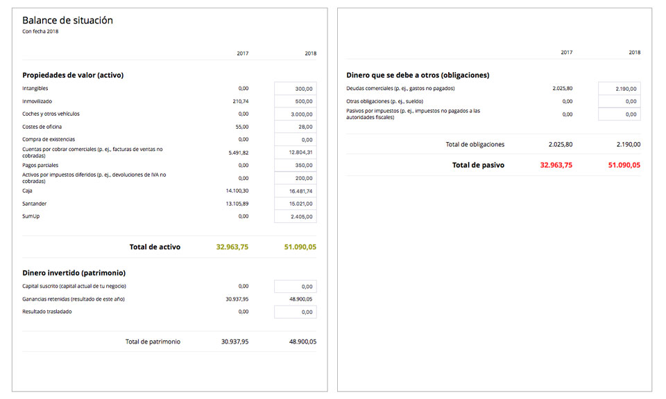 Un ejemplo de cómo es el balance de situación en un programa de facturación y contabilidad como Debitoor